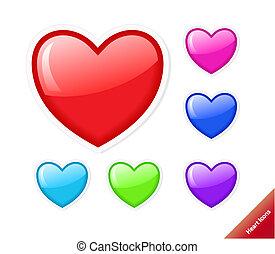 szív, mód, állhatatos, víz, különböző, icons., vektor, befest, size., bármilyen
