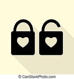 szív, mód, árnykép, lakás, egyszerű, zár, heart., lock., alakzat., aláír, háttér., alakít, fekete, út, árnyék, ikon, krém