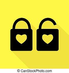 szív, mód, árnykép, lakás, egyszerű, zár, heart., lock., alakzat., sárga cégtábla, háttér., alakít, fekete, út, árnyék, ikon