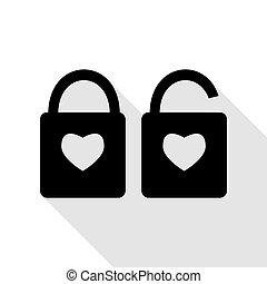 szív, mód, árnykép, lakás, egyszerű, zár, lock., alakzat., aláír, alakít, fekete, heart., árnyék, path., ikon