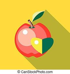 szív, mód, alma, lakás, piros, ikon