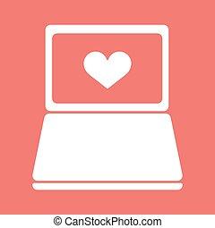szív, mód, ikon, laptop, lakás