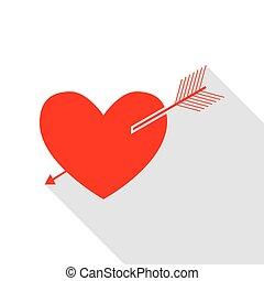 szív, mód, lakás, cégtábla., nyíl, árnyék, path., piros, ikon