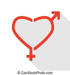 szív, mód, lakás, nemz, alakzat., cégtábla, árnyék, path., piros, ikon