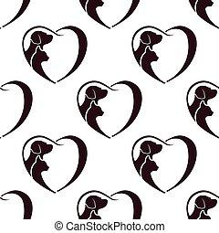 szív, macska, pattern., seamless, kutya