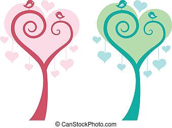 szív, madarak, vektor, fa