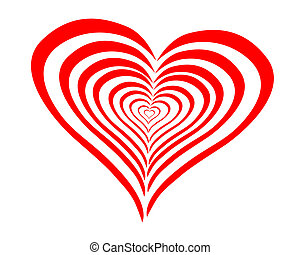 szív, megvonalaz, piros, görbe