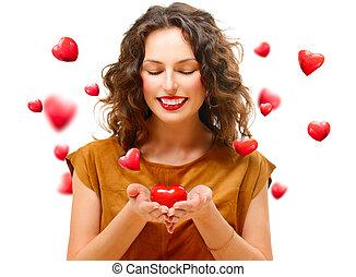 szív, nő, neki, szépség, fiatal, kedves, kézbesít