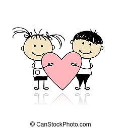 szív, nagy, gyerekek, kedves, day., tervezés, -e, piros