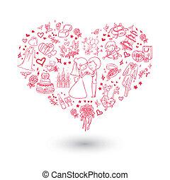 szív, nagy, meghívás, esküvő