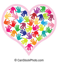 szív, nyomtatványok, gyerekek, kéz
