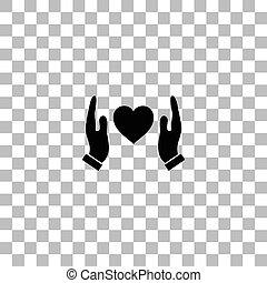 szív, oltalmaz, emberi, lakás, hatalom kezezés, ikon