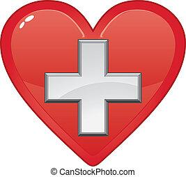 szív, orvosi, először, jelkép, segély