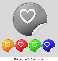 szív, orvosi, icon., színpompás, buttons., állhatatos, kereszt, aláír, jelkép.