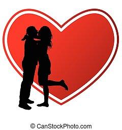 szív, párosít, árnykép, ábra, csókolózás