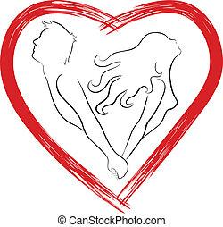 szív, párosít, árnykép, alakú