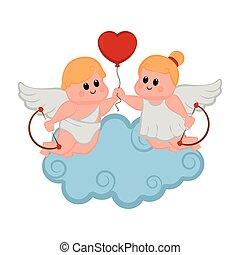 szív, párosít, alakít, ámor, balloon