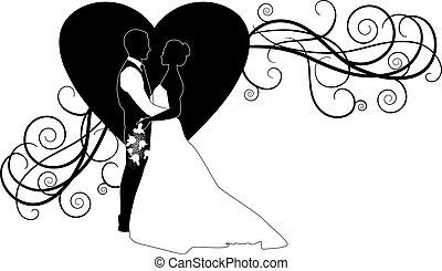 szív, párosít, esküvő, választékos