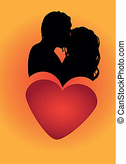 szív, párosít, romantikus