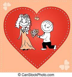 szív, párosít, szerető