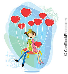 szív, párosít, szeret, balloon, alakú