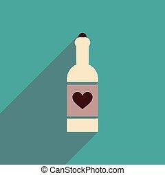 szív, palack, ikon, hosszú, árnyék, lakás