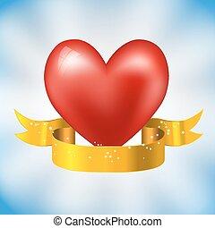 szív, pattog, szalag, arany-
