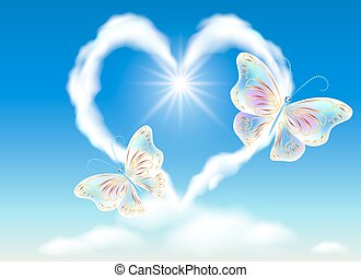 szív, pillangók, ég felhő