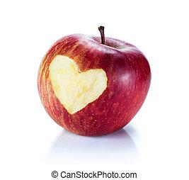 szív, piros alma