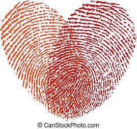 szív, piros, vektor, ujjlenyomat