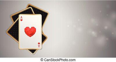 szív, piszkavas, ász, kaszinó, egy, négy, nyertes kezezés, transzparens, játék, kártya.