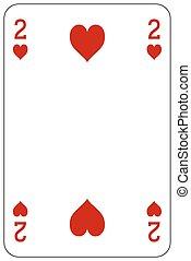szív, piszkavas, 2, játék kártya