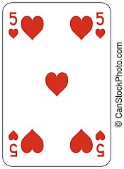 szív, piszkavas, 5, játék kártya