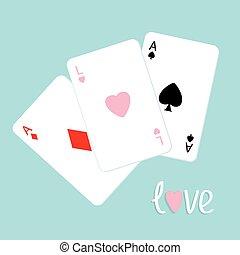 szív, piszkavas, gyémánt, szeret, ász, kombináció, lakás, aláír, tervezés, háttér, ásó, játék kártya