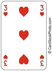 szív, piszkavas, játék kártya, 3