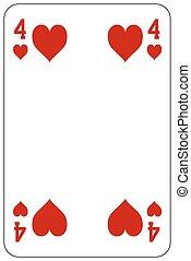 szív, piszkavas, játék kártya, 4