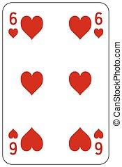 szív, piszkavas, játék kártya, 6