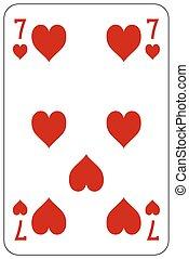 szív, piszkavas, játék kártya, 7