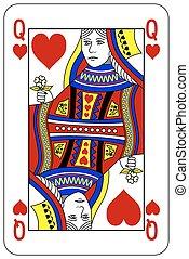 szív, piszkavas, királyné, játék kártya