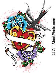 szív, rózsa, bevesz, tetovál