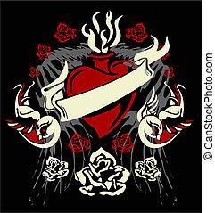 szív, rózsa, elem, szüret, szárny, madár