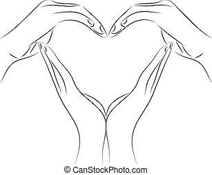 szív, rajz, tervezés, elkészített, kéz, alakít