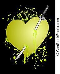 szív, sárga