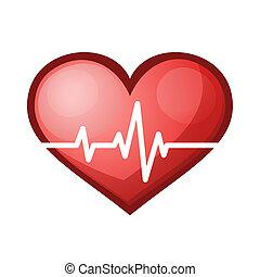 szív sebesség, healthcare, ábra, dobog, vektor, ikon