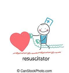 szív, siet, resuscitator, beteg
