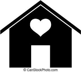 szív, silhouette., ikon, épület