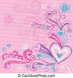 szív, sketchy, vektor, szeret, doodles
