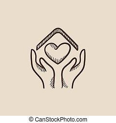 szív, skicc, épület, jelkép, alakít, hatalom kezezés, icon.