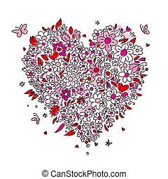 szív, skicc, alakít, tervezés, virágos, -e