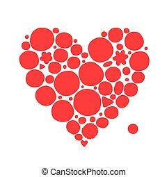 szív, skicc, kivonat alakzat, tervezés, -e, piros